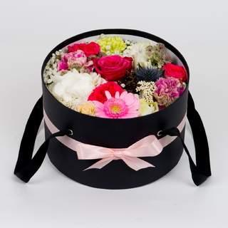 Boîte à fleurs noire (⌀ 32 cm)