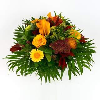 IBIZA - Bouquet rond de fleurs de saison (orange & rouge)