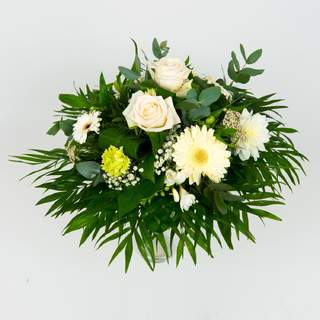 COTON - Bouquet rond de fleurs de saison (vert & blanc)