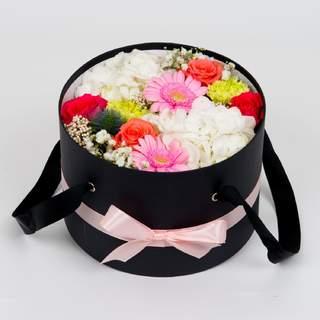Boîte à fleurs noire (⌀ 26 cm)