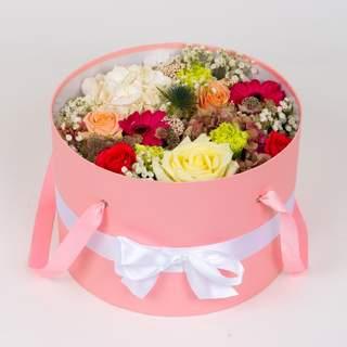 Boîte à fleurs rose (⌀ 32 cm)